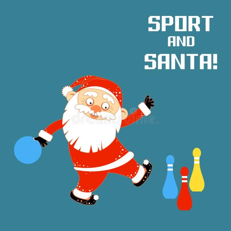 Santa Claus que joga o rolamento dos jogos dos esportes ilustração stock