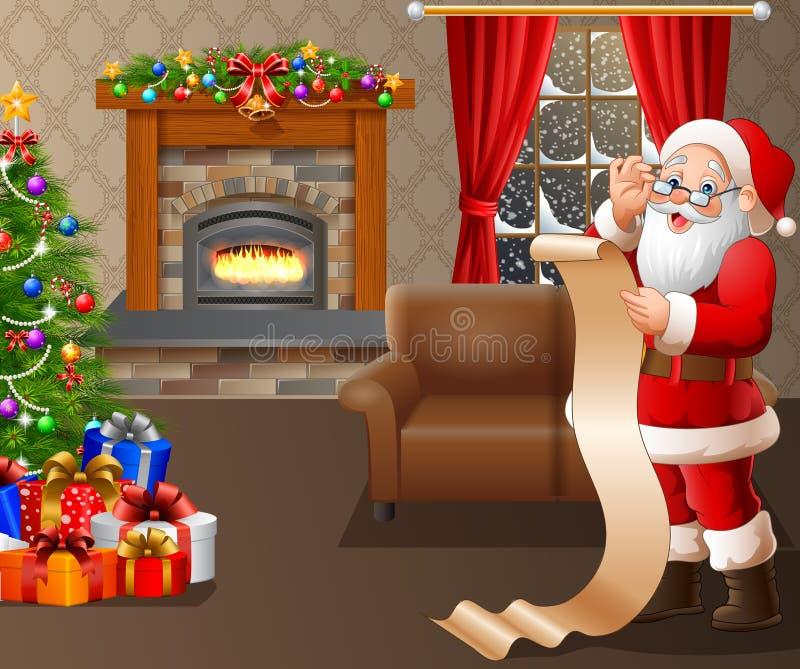 Santa Claus que lê uma lista longa de presentes na sala de visitas ilustração royalty free