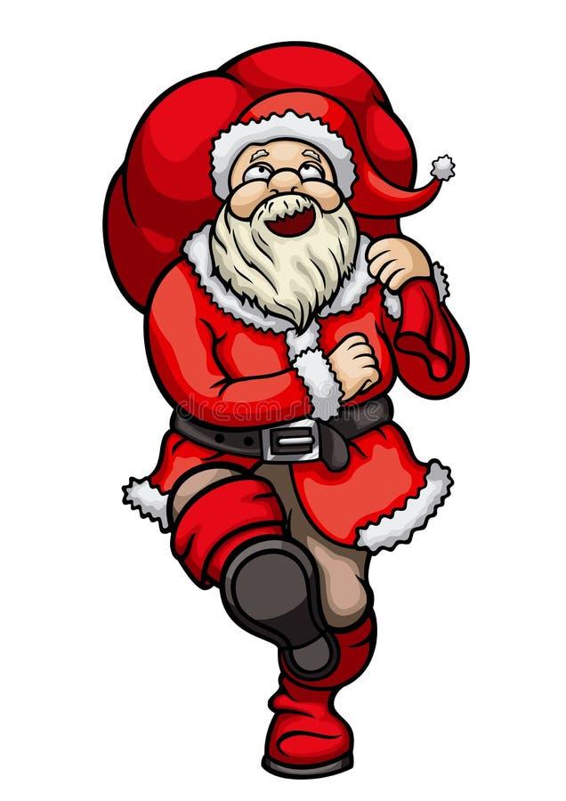 Santa Claus que marcha con un bolso stock de ilustración