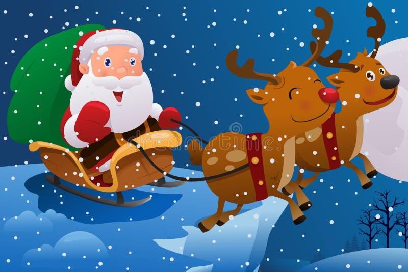 Santa Claus que monta o trenó ilustração do vetor