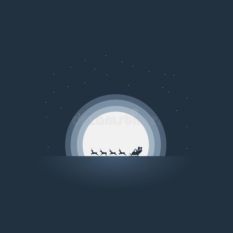 Santa Claus que monta su plantilla del vector de la tarjeta de Navidad del trineo Reno que tira del trineo a la velocidad de la a stock de ilustración