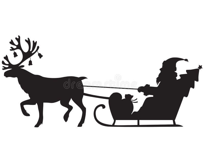 Santa Claus que monta un trineo con el reno ilustración del vector