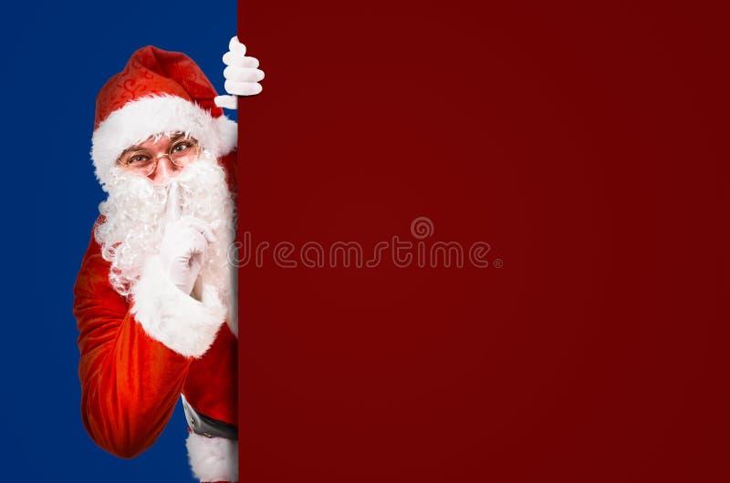 Santa Claus que pede o silêncio foto de stock