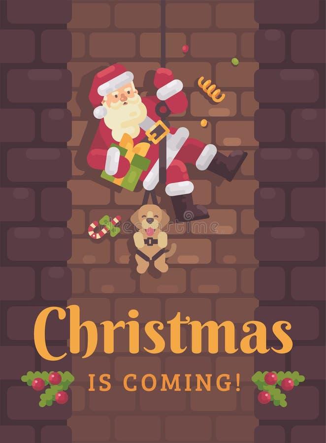 Santa Claus que rappelling abaixo da chaminé com um cão e um presente à disposição  ilustração royalty free