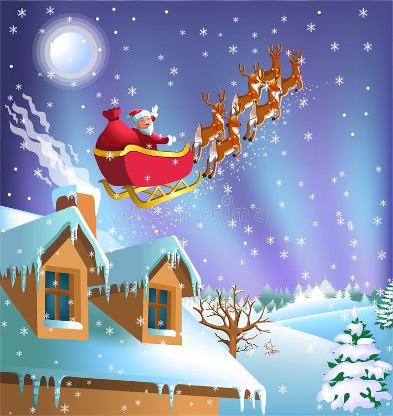 Santa Claus que sale de la casa en su trineo ilustración del vector
