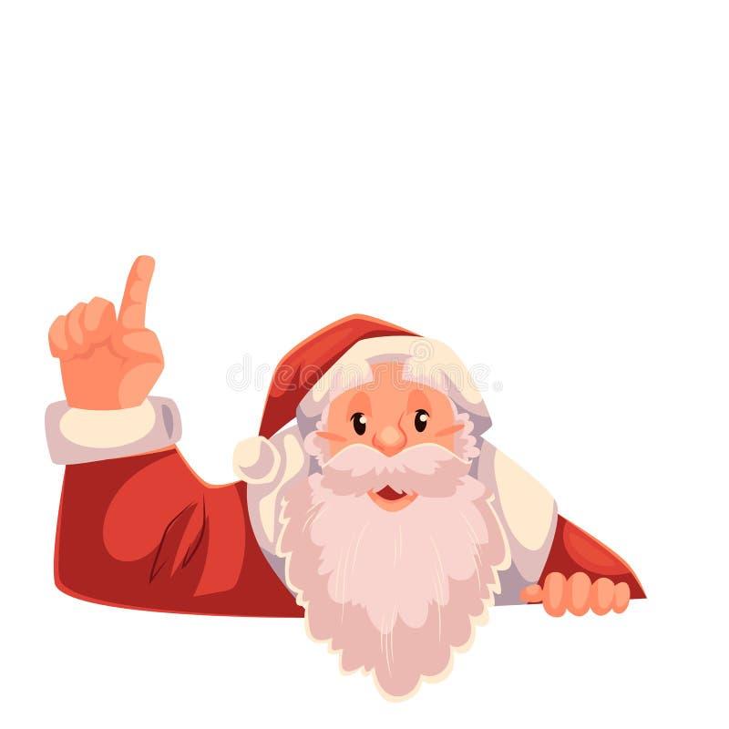 Santa Claus que señala para arriba en un fondo blanco ilustración del vector