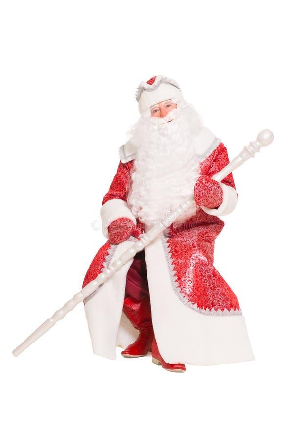 Santa Claus que se sienta con un personal imagen de archivo libre de regalías
