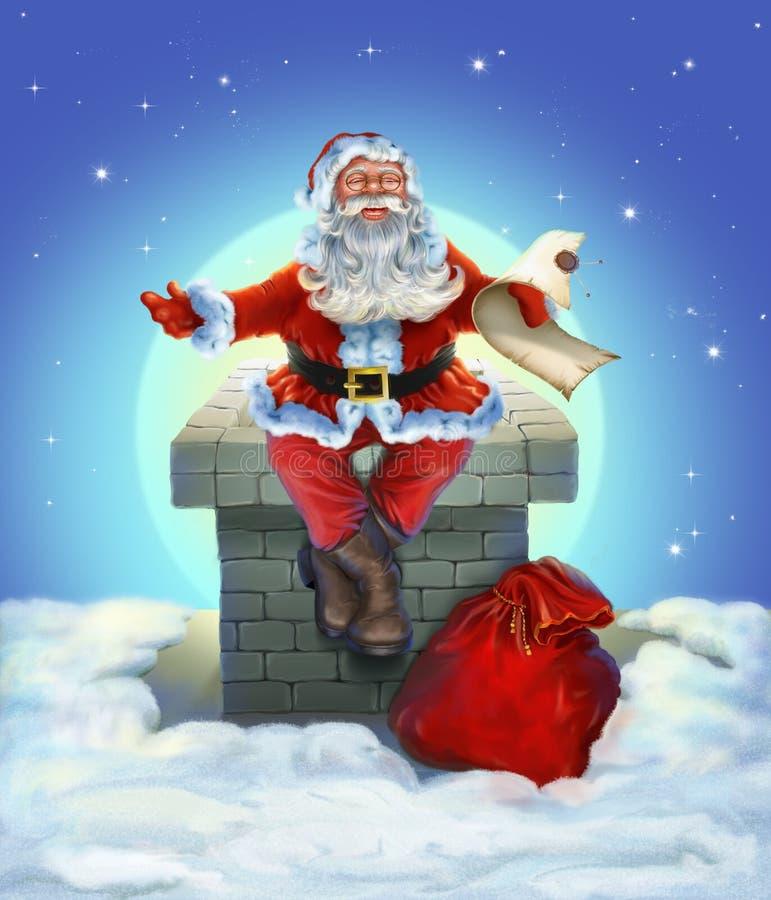 Santa Claus que se sienta en el tejado ilustración del vector