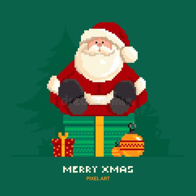 Santa Claus que se sienta en una caja con los regalos en un fondo verde con los árboles de navidad en estilo del pixel libre illustration