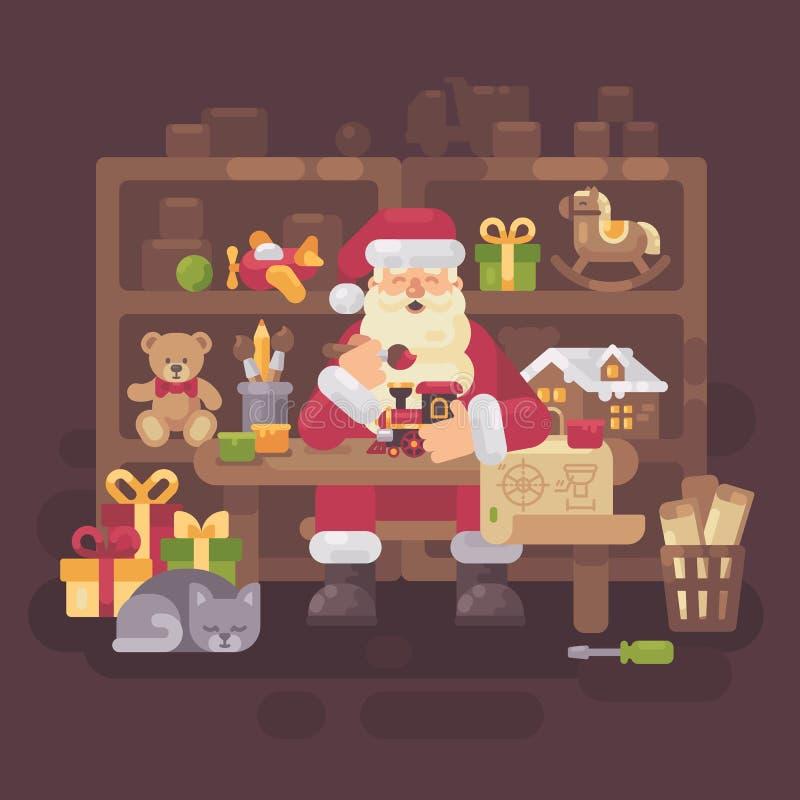 Santa Claus que senta-se na mesa em sua oficina que faz brinquedos ilustração do vetor