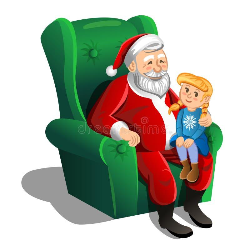 Santa Claus que senta-se na poltrona com menina Vetor ilustração do vetor