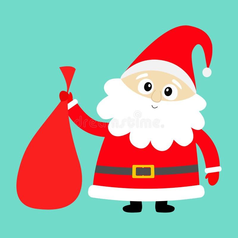 Santa Claus que sostiene el bolso del regalo del saco que lleva Sombrero rojo, traje, barba grande, correa de oro Feliz Navidad K ilustración del vector