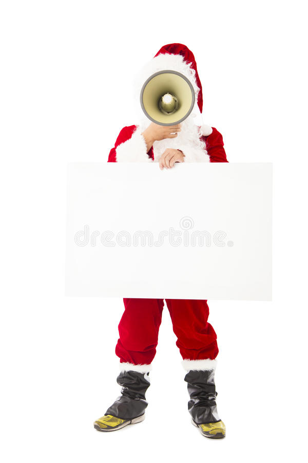 Santa Claus que sostiene el megáfono y la cartelera en blanco imagen de archivo libre de regalías