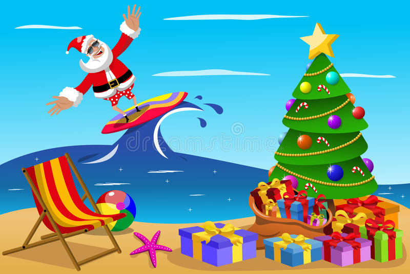 Santa Claus que surfa o tempo do xmas ilustração royalty free