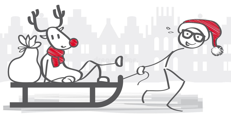 Santa Claus que tira del trineo libre illustration