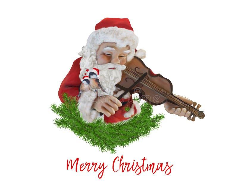 Santa Claus que toca el violín con dos pájaros cariñosos stock de ilustración