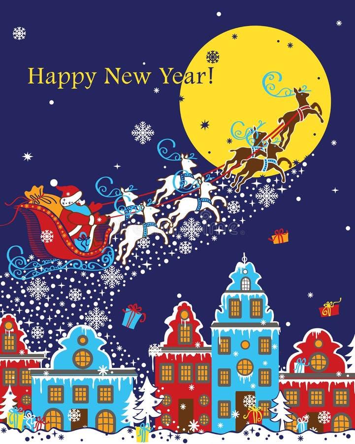 Santa Claus que vem à cidade apenas trouxe um Christma ilustração do vetor