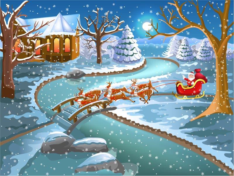 Santa Claus que viene en la Navidad en su trineo stock de ilustración