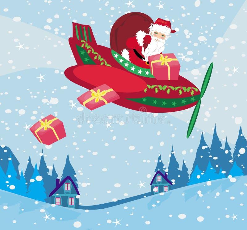 Santa Claus que voa sobre a cidade ilustração royalty free