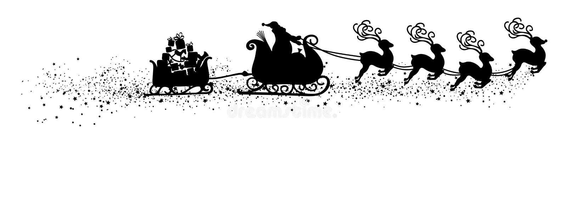 Santa Claus que vuela abstracta con forma del negro del ejemplo del vector del trineo del reno - silueta libre illustration