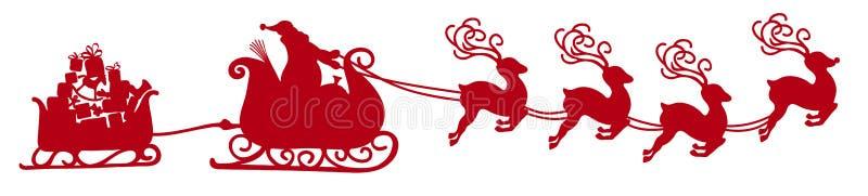 Santa Claus que vuela abstracta con forma roja del ejemplo del vector del trineo del reno - silueta ilustración del vector