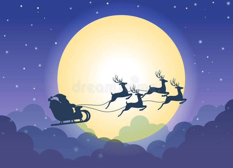 Santa Claus que vuela en un trineo con los renos sobre fondo de la nube y de la Luna Llena libre illustration