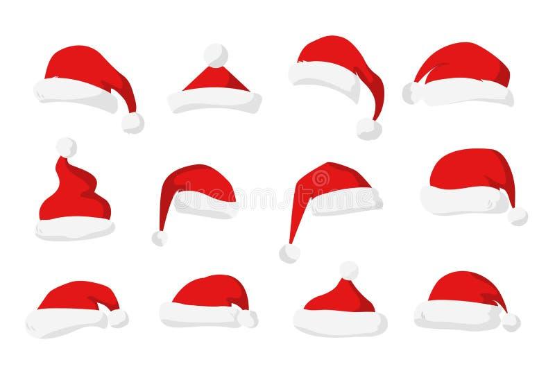 Santa Claus röd hattvektor stock illustrationer