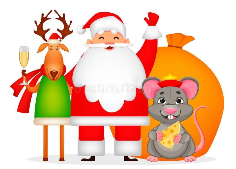 Santa Claus, ratto e cervi illustrazione vettoriale