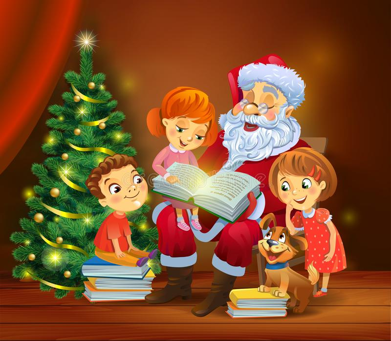 Santa Claus reading the book to children. Santa Claus with kids reading the book beside a Christmas tree, a vector illustration in traditional style royalty free illustration