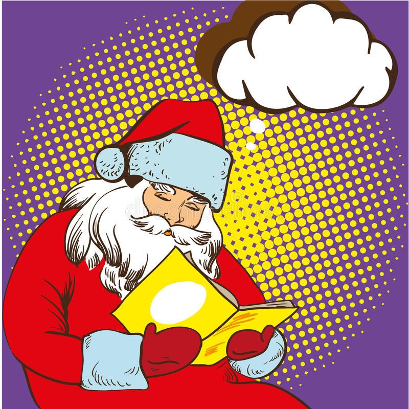 Santa claus reading fairy tales book. Vector illustration in comic pop art style. Christmas concept poster.  royalty free illustration