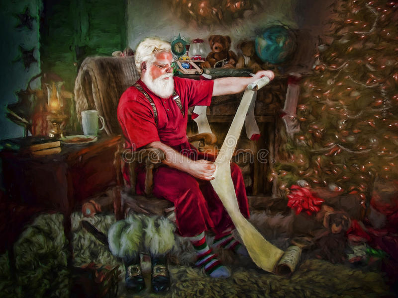 Santa Claus Reading List immagine stock