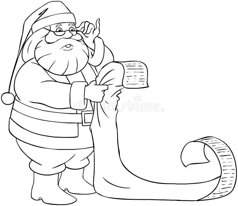 Santa Claus Reads From Christmas List som färgar Pag vektor illustrationer