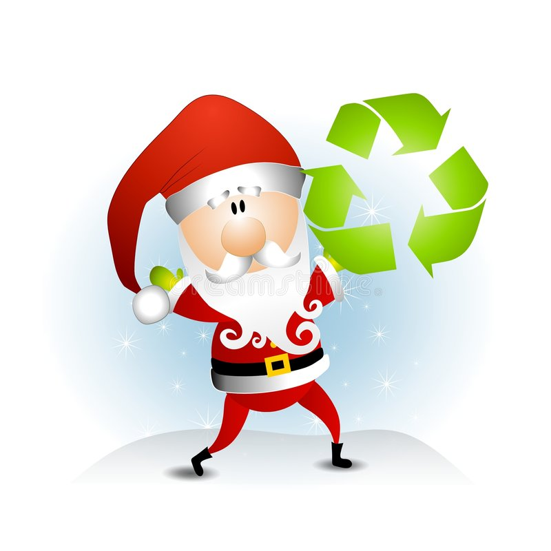 Santa Claus Recycle Symbol. An illustration featuring Santa Claus holding a green recycling symbol vector illustration