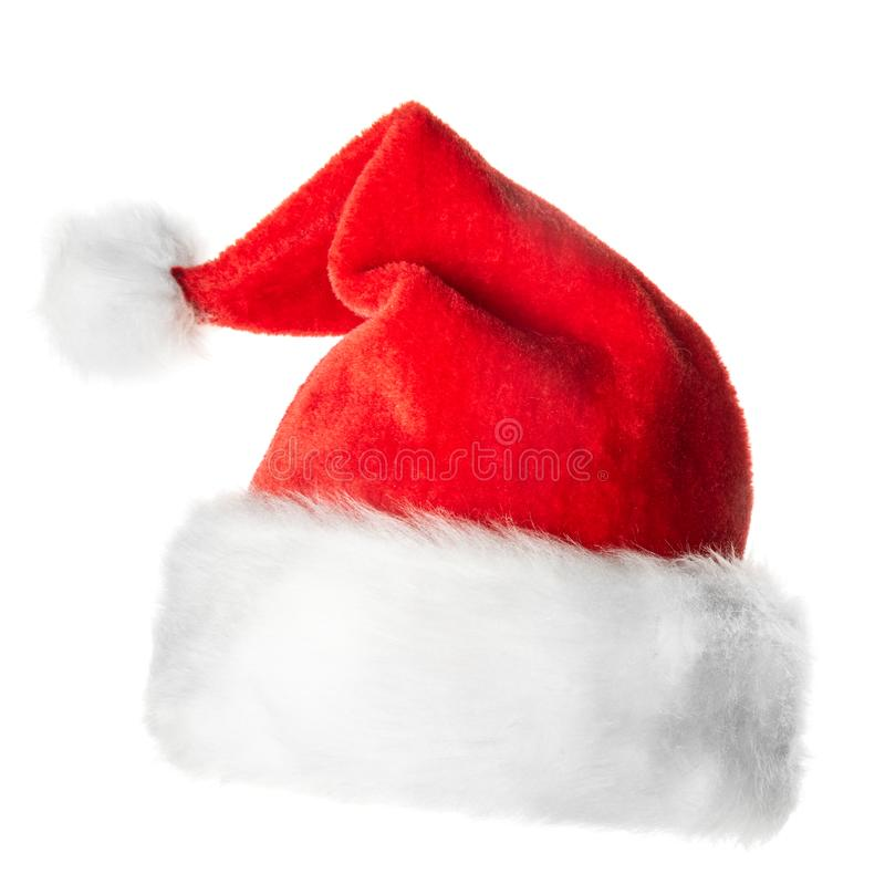 Santa Claus red hat. Isolated on white background stock image