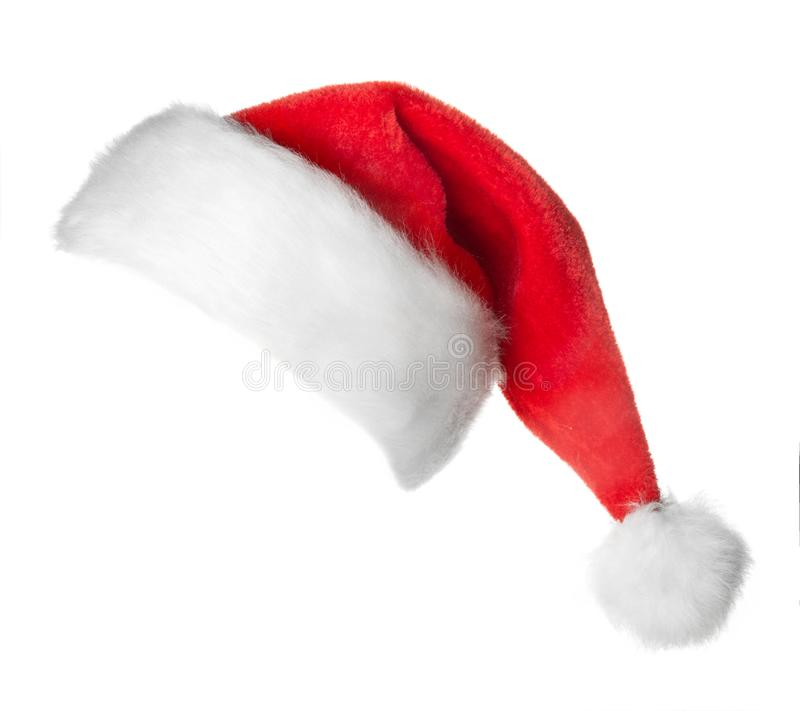 Santa Claus red hat. Isolated on white background royalty free stock photography