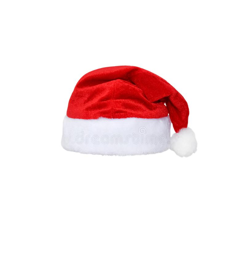 Santa Claus red hat isolated on white background. Red christmas hat or cap isolated on white royalty free stock images