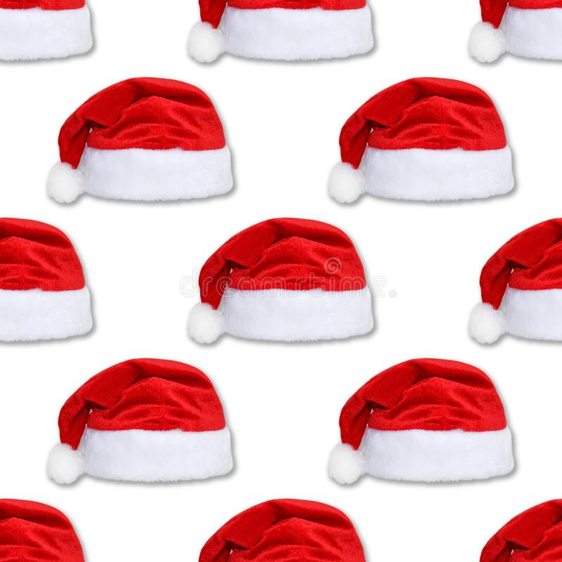 Santa Claus red hat isolated on white background. Red christmas hat or cap seamless pattern. Santa Claus red hat isolated on white background. Red christmas hat royalty free stock photos