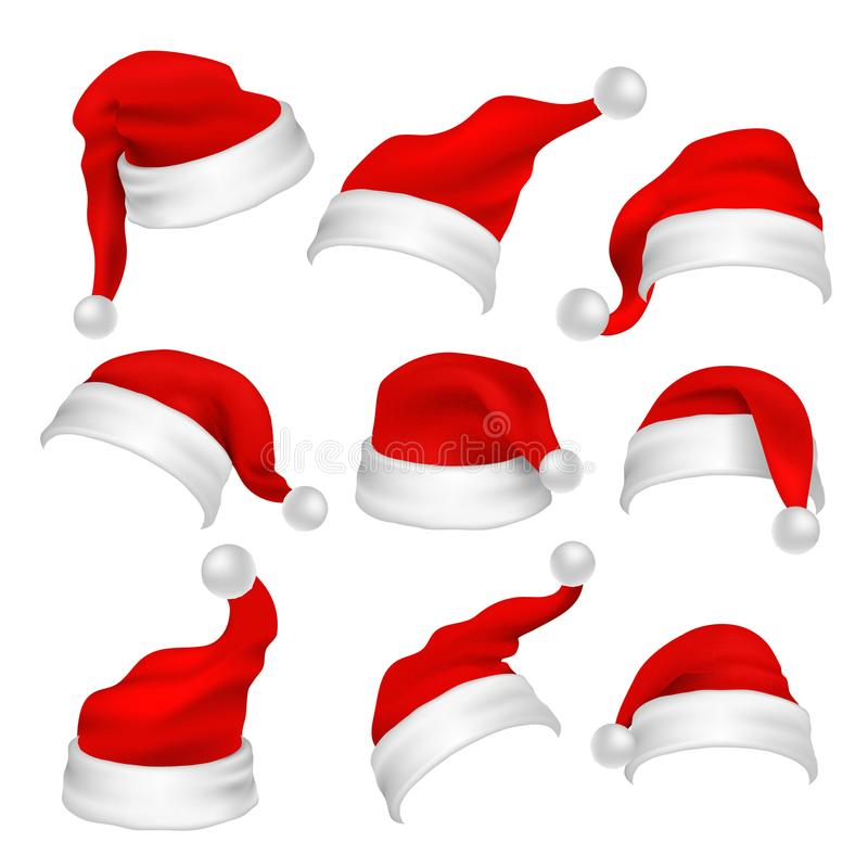 Santa Claus red hats photo booth props. Christmas holiday decoration vector elements stock illustration