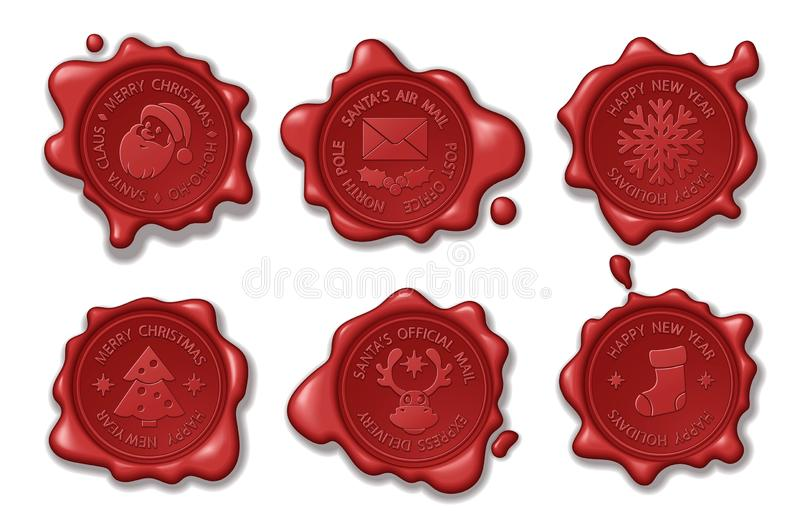 Santa Claus red wax seal. Set  Christmas and New Year seals with holiday symbols.  Christmas mail. Santa`s Air Mail. stock illustration