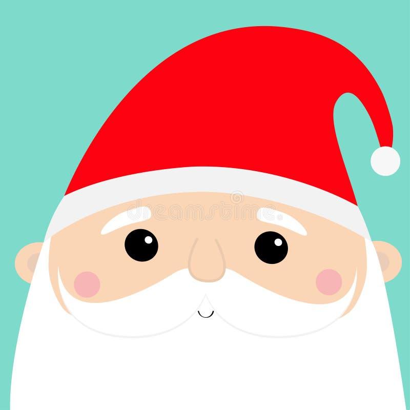 Santa Claus-reeks van het gezichts de hoofdpictogram Vrolijke Kerstmis Nieuw jaar Rode hoed Snorren, baard Leuk de babykarakter v royalty-vrije illustratie
