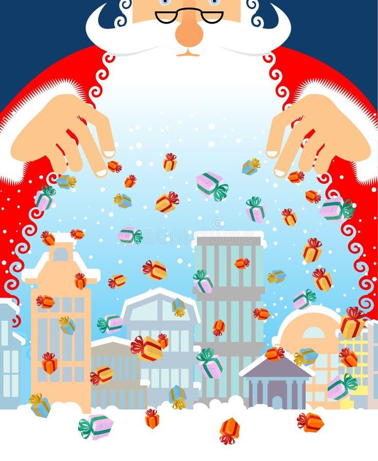 Santa Claus-regengiften in stad Kerstmis in stad stock illustratie