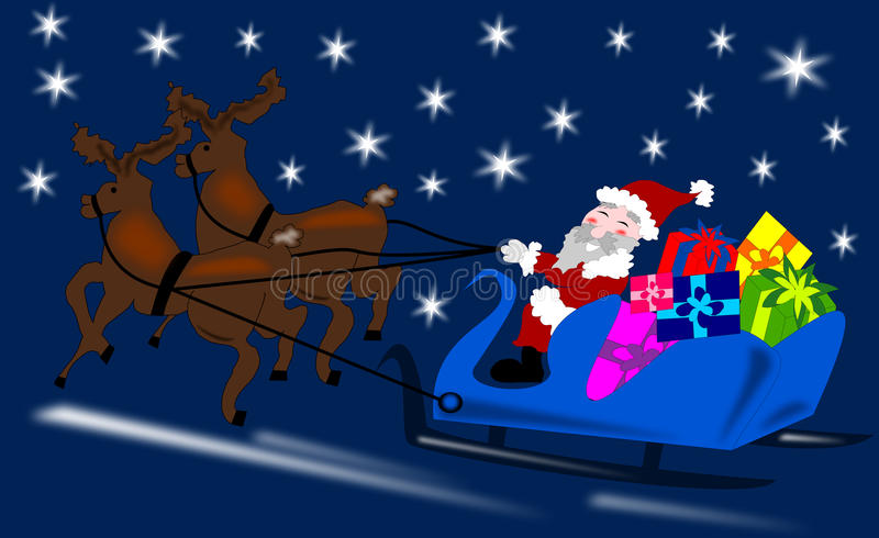Santa Claus with reindeer vector illustration