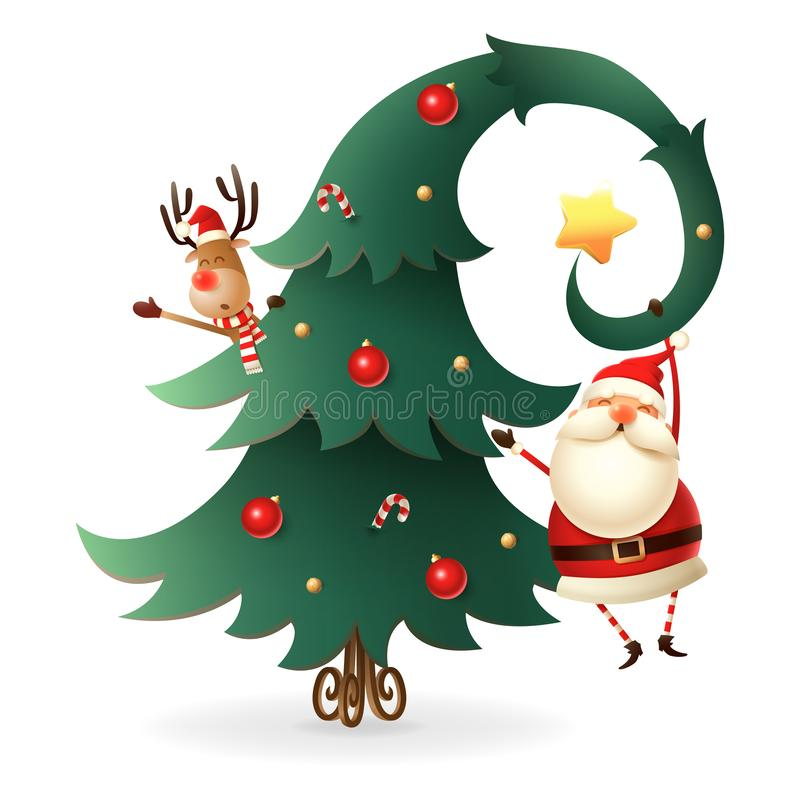Santa Claus and Reindeer around the Christmas tree on transparent background. Scandinavian gnomes style. vector illustration