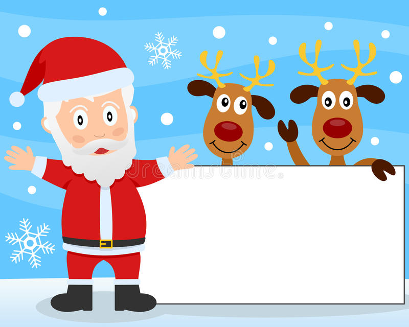 Santa Claus and Reindeer Banner. Santa Claus and two reindeer on a snowy background, with a blank banner. Empty space for your message. Eps file available stock illustration