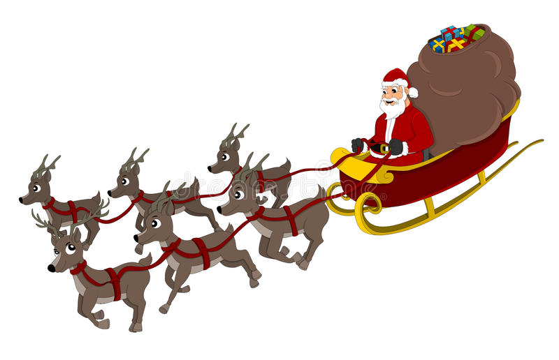 download santa claus and reindeer cartoon stock vector illustration of animals holidays 80533021 - Santa Claus And Reindeers