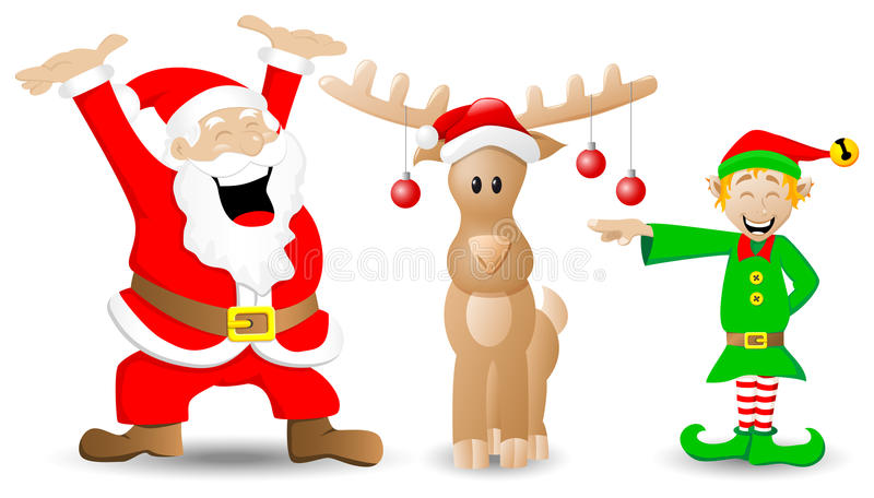 Download Santa Claus, Reindeer And Christmas Elf On White Stock Vector - Image: 34666828