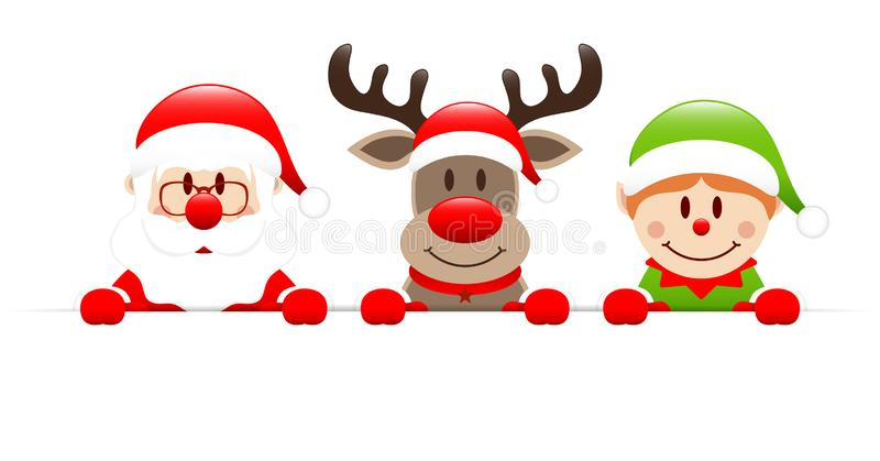 Santa Claus Reindeer And Elf Holding horisontalbaner stock illustrationer