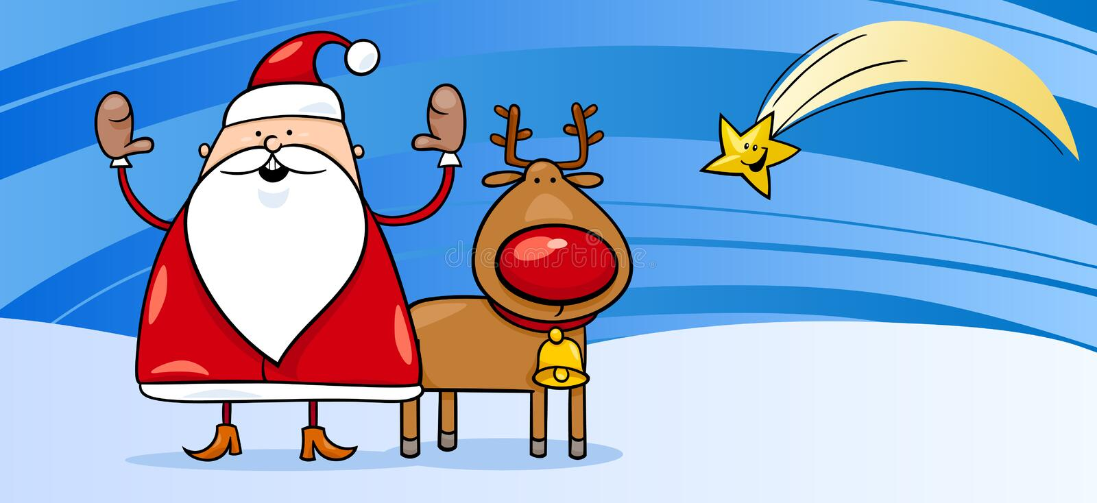 Santa claus with reindeer greeting card stock vector