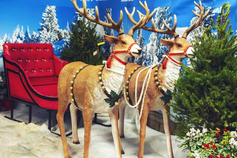 Santa Claus Reindeer Sleigh royalty-vrije stock afbeeldingen
