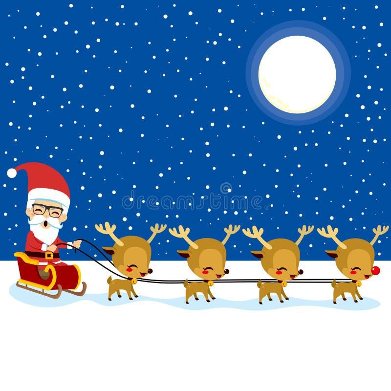 Santa Claus Reindeer Sleigh ilustração stock
